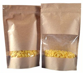 Customized Stand Up Kraft Paper Pouches For Food Packing 0.05~0.3mm Thickness