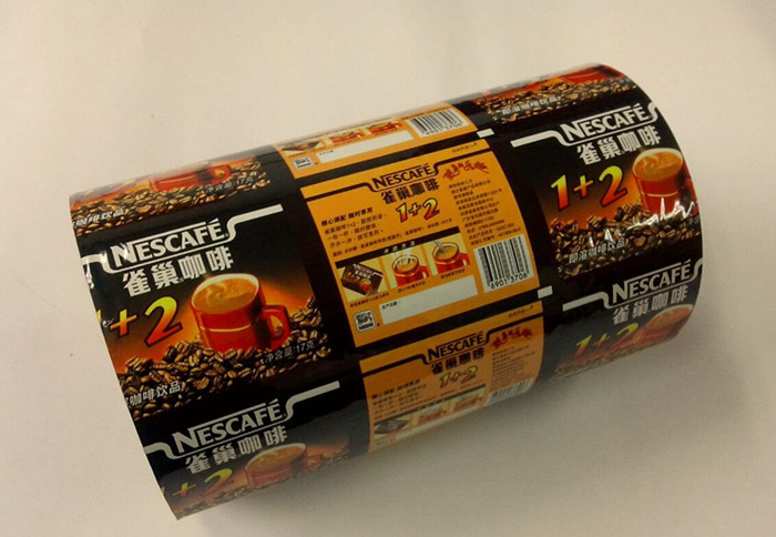 Flat PE PET Laminated CMYK Printed Plastic Roll Film For Coffee Powder Packaging